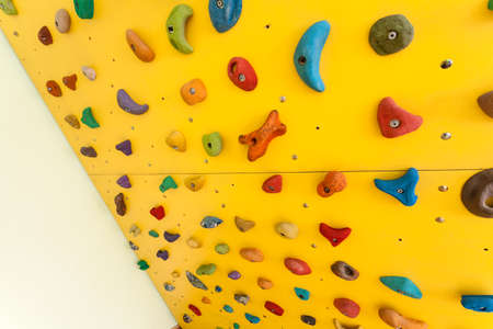 clambering: Small colorful climbing wall for children at home Stock Photo