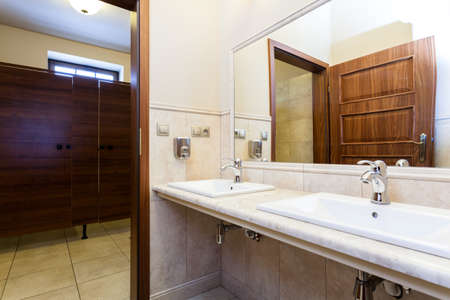 Modern luxury elegant stylish public toilet with marble sink and wooden door photo