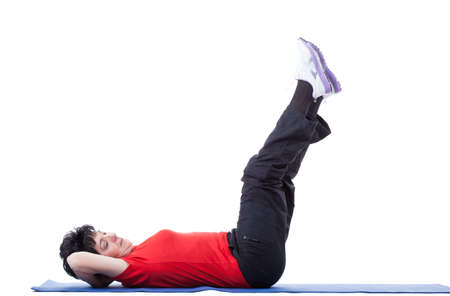 Portrait of vigorous senior woman during fitness  photo