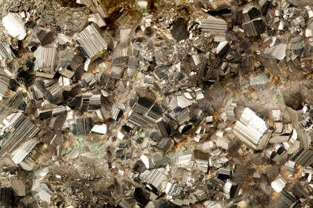 美しい金色の黄鉄鉱鉱物標本をクローズ アップ 写真素材