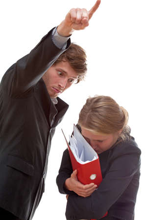sacked: A businesswoman being sacked by her angry boss