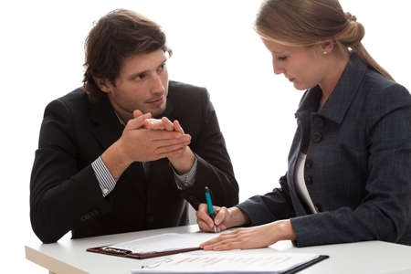 adviser: Insurance agent talking with a new client