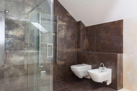 Brown tiles in modern bathroom interior, wc and bidet photo