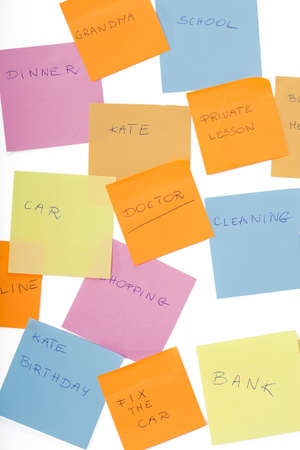 duties: A white wall with colourful notes with duties written down