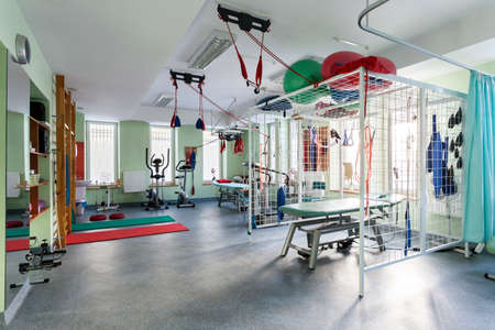 Spatial hall rehabilitation with differents exercises machines Banco de Imagens - 25923851