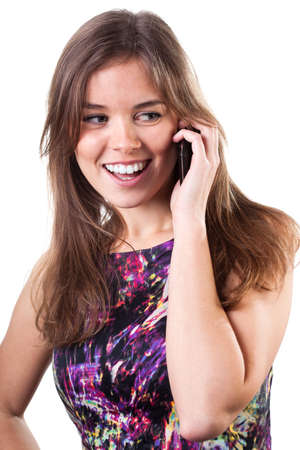 Style woman talking on the phone and smilening photo