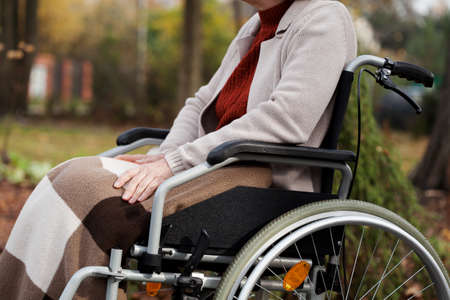 Disabled lady relaxed sitting in wheelchair in the garden