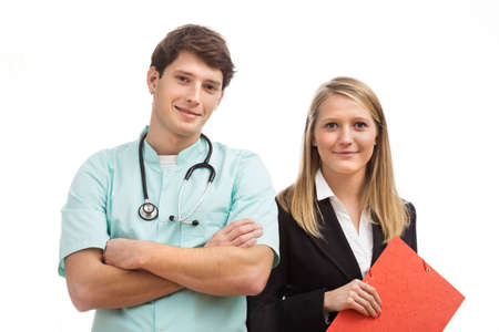 cheerfull: Cheerfull man and woman working together in medical place