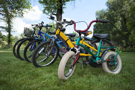 Five bicycles in different sizes in one line photo