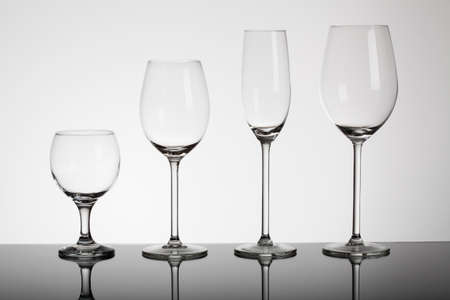 glass of red wine: Different types of glasses for alcohol drink Stock Photo