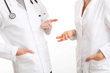 the council: Two physicians gesticulating during a medical council Stock Photo