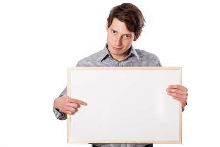 the place is important: A man pointing important some information you can write on a white board Stock Photo