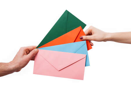 sens: A closeup of taking one of the colourful envelopes