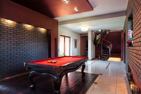 billiards rooms: Billard table in the hall of private interior Stock Photo