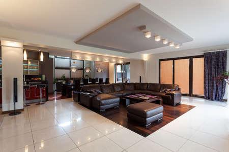 Eine geräumige elegante Penthouse in einem modernen Stil mit einem großen Sofa Standard-Bild - 26388721