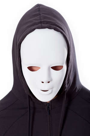 Scary person in white mask and dark hood photo
