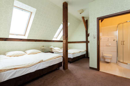 home addition: Wooden addition and toilet in a shared room