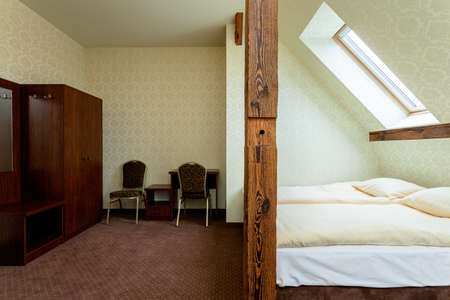 home addition: Wooden wardrobe in elegant hotel room, horizontal Stock Photo