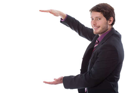 quantity: Businessman during showing quantity by hands, horizontal