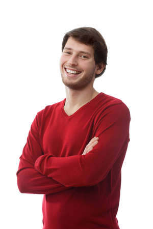 founded: Smiling and handsome man with founded hands