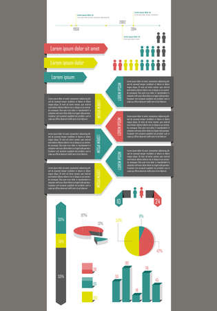demography: Colorful modern infographic presenting statistic of population  Illustration