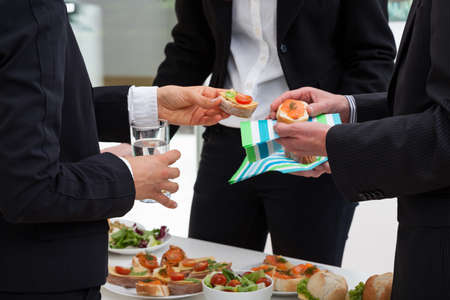 breakfast food: Business people are meeting with breakfast in the morning to discussion Stock Photo