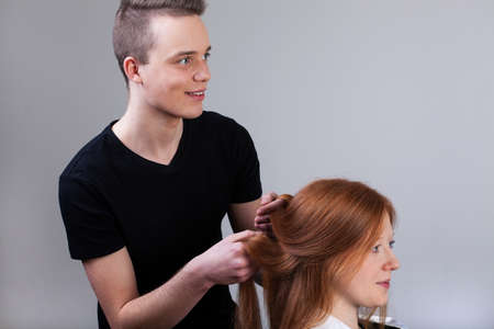 characterization: Professional hair characterization in studio before photo session