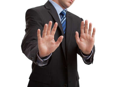 Mans body language showing disgust gesture, isolated