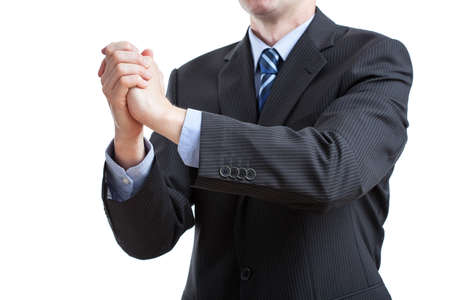 felicitation: Business felicitation of tight hands by a gentleman in suit