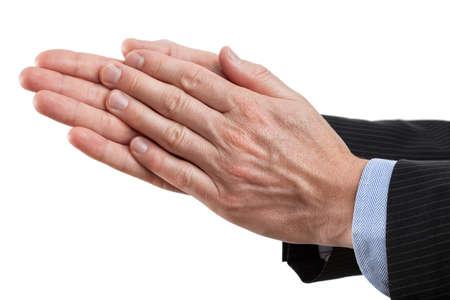 aplaudiendo: El hombre de negocios dando una palmada en el fondo aislado