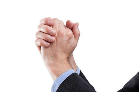 potentiality: Las manos en gesto de la victoria, el fondo aislado Foto de archivo