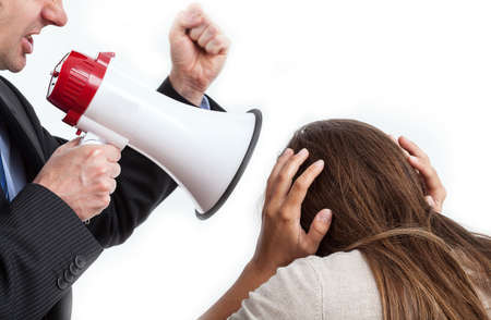violence in the workplace: Poor employee in front of cruel boss, isolated Stock Photo