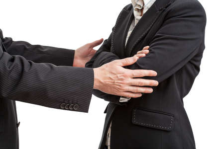 apologise: Businessman ison way to say sorry to his work partner Stock Photo
