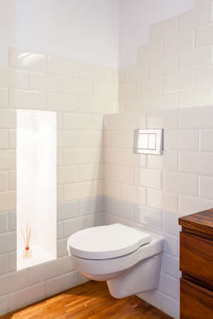 Toilet in white modern bathroom interior, vertical photo
