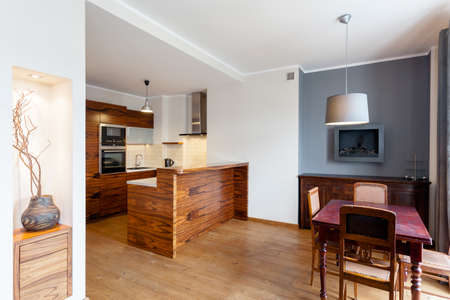 Vintage wooden table in dining room , horizontal view photo
