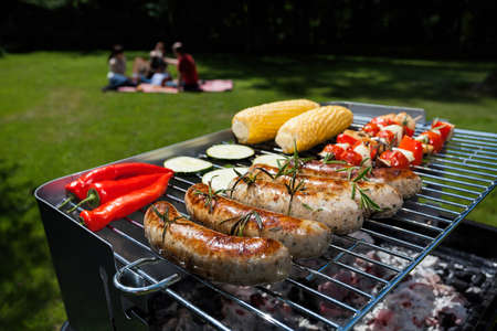 A summer garden party with grilled food