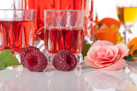 Delicious homemade  raspberry liqueur photo