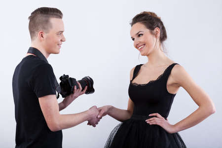 showbusiness: Photographer saying thank you to his beautiful model