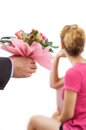 A bunch of pink flowers for a touchy woman photo