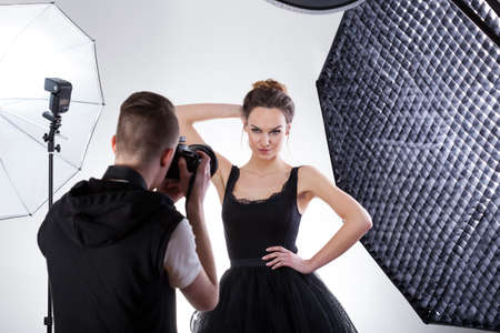 working model: Professional fashion photography in studio with softboxes