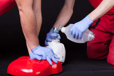 chest compression: First aid instruction presenting by medical rescuers