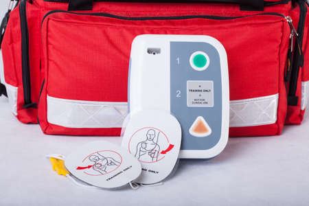 Automated External Defibrillator and rescue bag photo