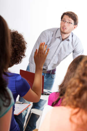high school teacher: Active classes with young professor at university Stock Photo