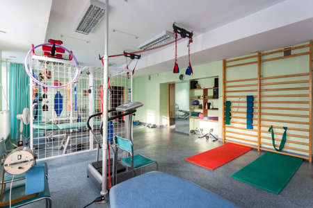 physical activity: Empty room at small physiotherapy clinic, horizontal
