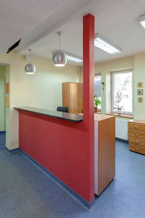 A reception area in doctor office, vertical photo