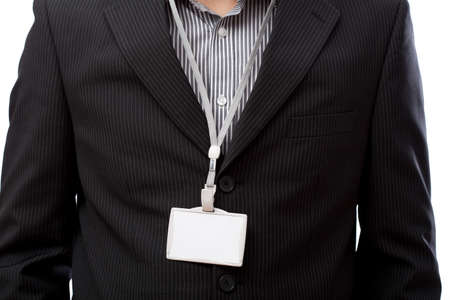Businessman with empty id card on his neck photo