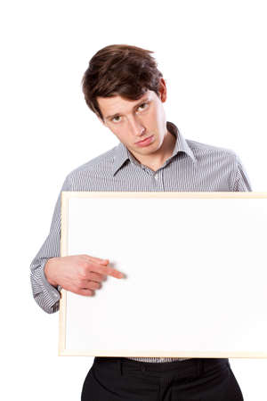 Tired man with white board for text photo