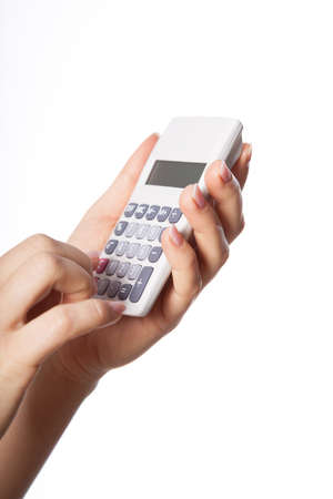 calc: Human hands holding calculator and pressing numbers Stock Photo