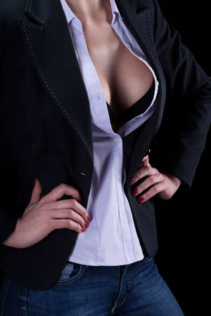 Sexy woman after work on isolated background photo