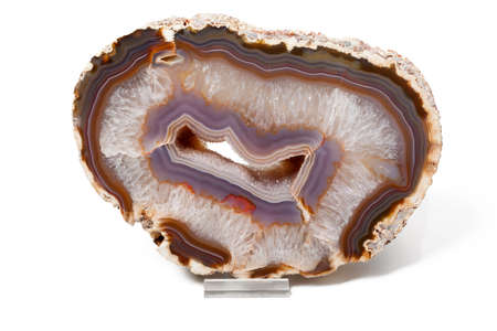Agate purple and white on isolated background Stock Photo